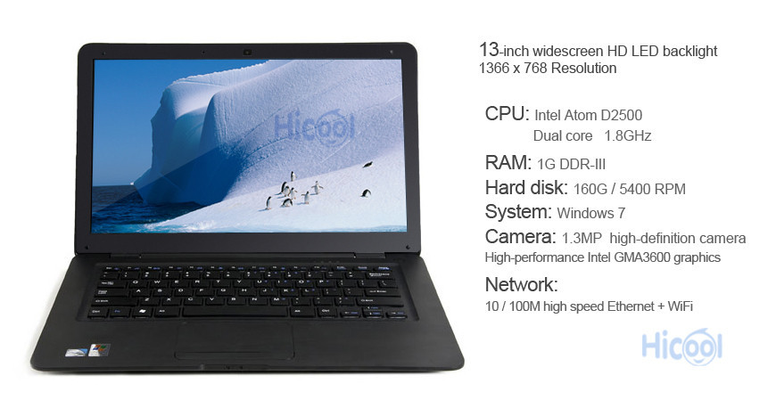 Ноутбук Hicool 13 Windows 7 Dual Core 160 Wifi intel Atom D2500 1,8 L70