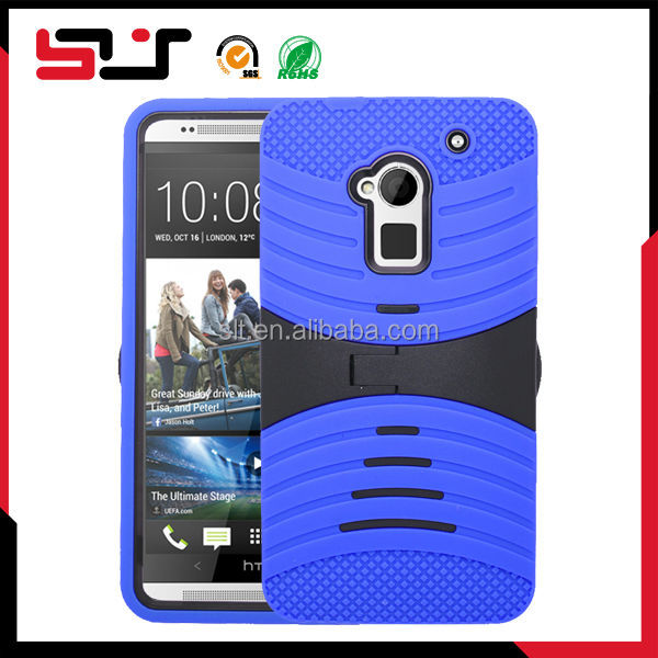 Combo rugged hybrid silicone for htc one max bumper case