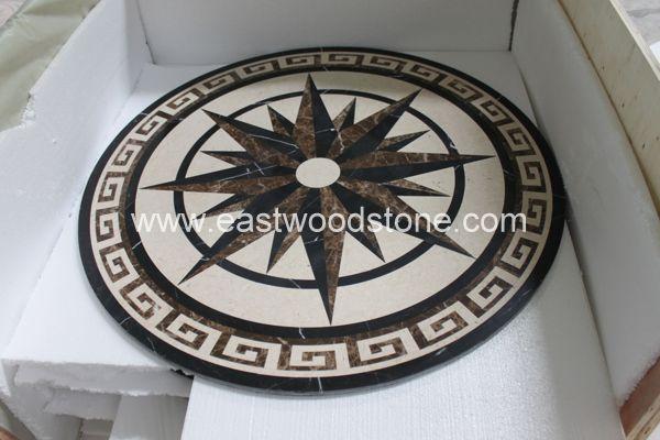French Goldenarch Shape Stone Mosaic Floor Tile Stone Pattern Vinyl