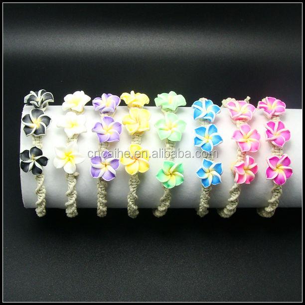 baja precio de hilo encerado pulsera de aleteo tres flores hawaiano pulsera