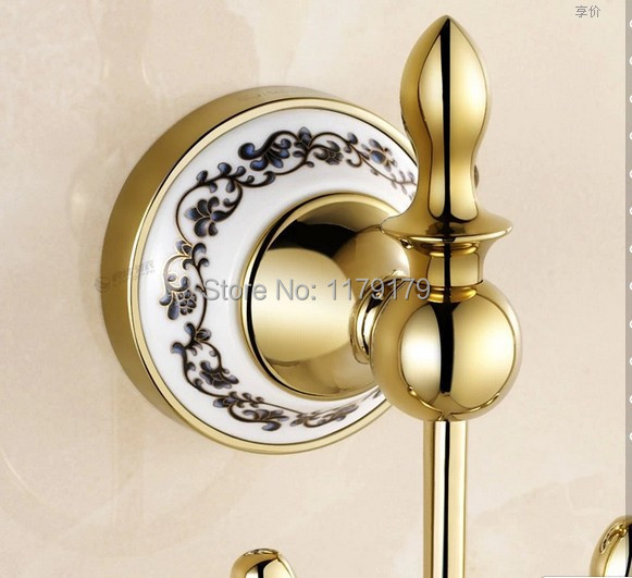Buy gold chrome ceramic zinc alloy clothes hook robe hook bathroom hooks for Ceramic towel hooks for bathrooms