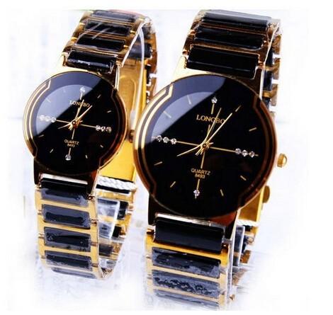 Лунбо высокого класса люкс rhinestione кварцевые часы керамические мужчин 4 цветов
