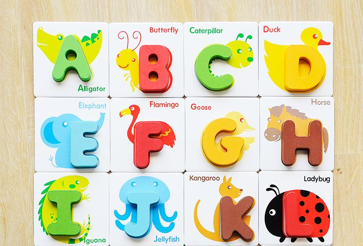 Wooden toys montessori teaching aids children39s for Magnetic letters for 1 year old