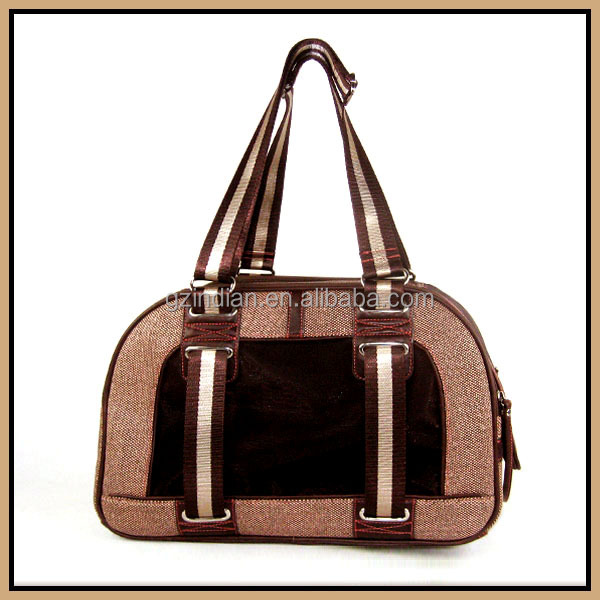 Brown pet bags carriers wax printing canvas vintage style large dog carriers