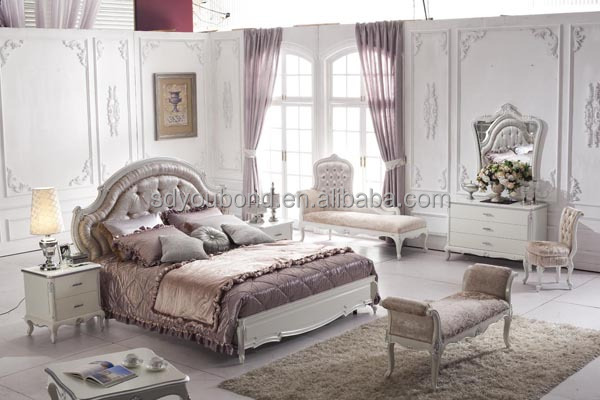 Italy Style Luxury Solid Wood Royal Classic White Bedroom Furniture