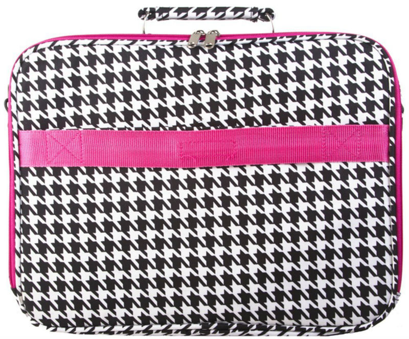 Pink Trim Black White Houndstooth Padded Laptop Computer Case 15""