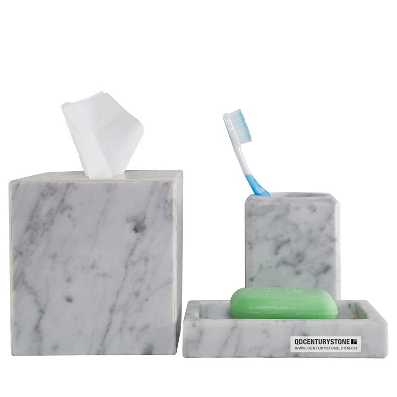 Carrara marble tissue cover bathroom accessory sets view for Stone bathroom accessories sets