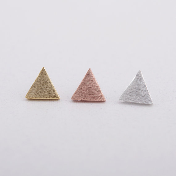 Gold Silver Pink Gold Brushed Triangle stud Earrings.jpg