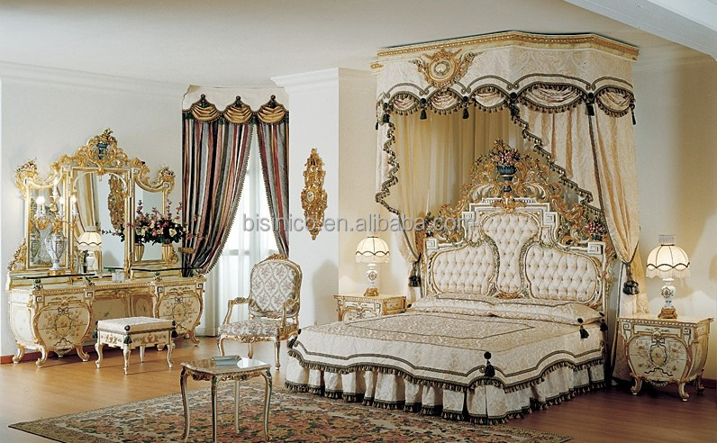 Italy Style Replica Upholstered Bed Retro Solid Wood