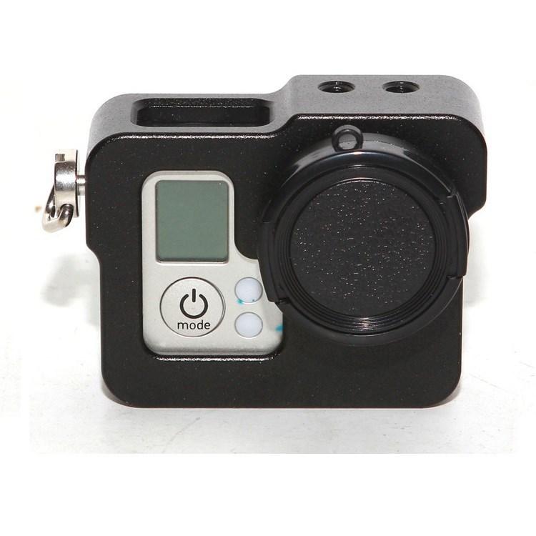 Aluminum Metal Skeleton Rugged Cage Protective Case+Lens Cap for GoPro Hero 3 Hero3+ Hero4 CNC Aluminium Case Go pro Accessories