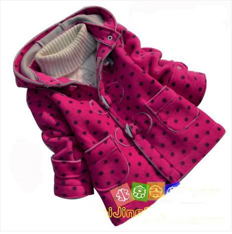 Зимние новые моды рога кнопку ребенка утолщение верхней одежды пальто девочек верхняя одежда baby девушка куртка розничная
