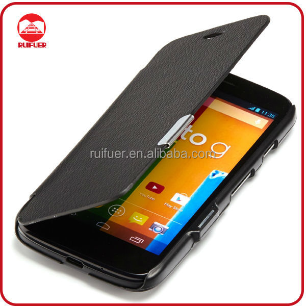 RF Manufacturer Deluxe Ultra Thin Magnetic Flip Leather Case for Moto E