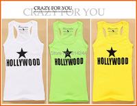Новые прибытия моды Голливуд письмо печатных майки для женщин спортивный летний Топ без рукавов основной износ одежды #wu058