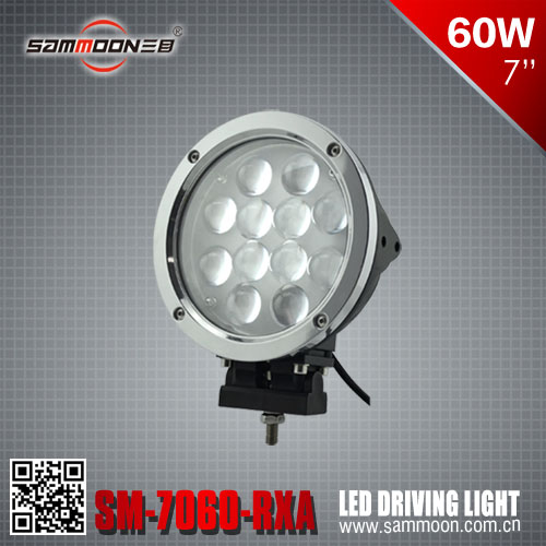 E-mark Approval 60W CREE Off Road Vehicle Light, 7 Inch 60W Round LED Driving Light, LED Head Light_SM-7600