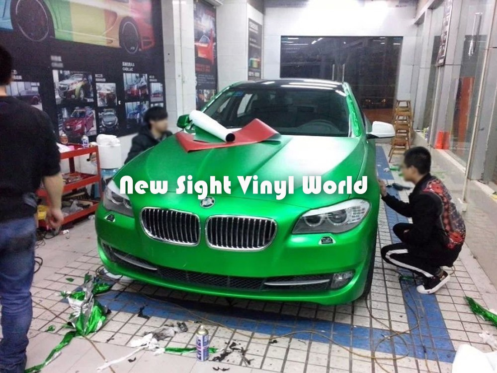 High Quality Matte Chrome Green Vinyl Wrap Air Free Bubble For Car Wraps Size:1.52*20M/Roll