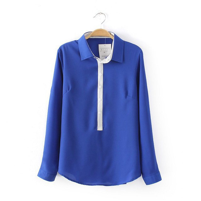 Za Brand Shirt Women's Turn-Down Collar Long Sleeve Blouse Casual Slim Patchwork Shirt