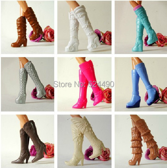 10 Pairs Wholesale Combine Completely different Types Vogue Doll Excessive Heeled Boots Jackboots Sneakers Equipment For Barbie Kurhn Doll Present