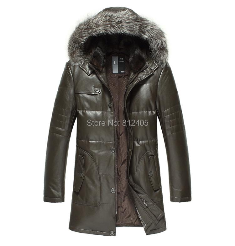 2019 Genuine Mink Fur Collar Coat For Men With Real Silver Fox Fur ... 7fceb42b0e88