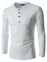 Мужская футболка spring long-sleeve slim solid color round neck T-shirt-selling t-shirt 5511 L-0000