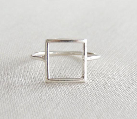 Open Square ring,Square Geometric ringGeometric ring