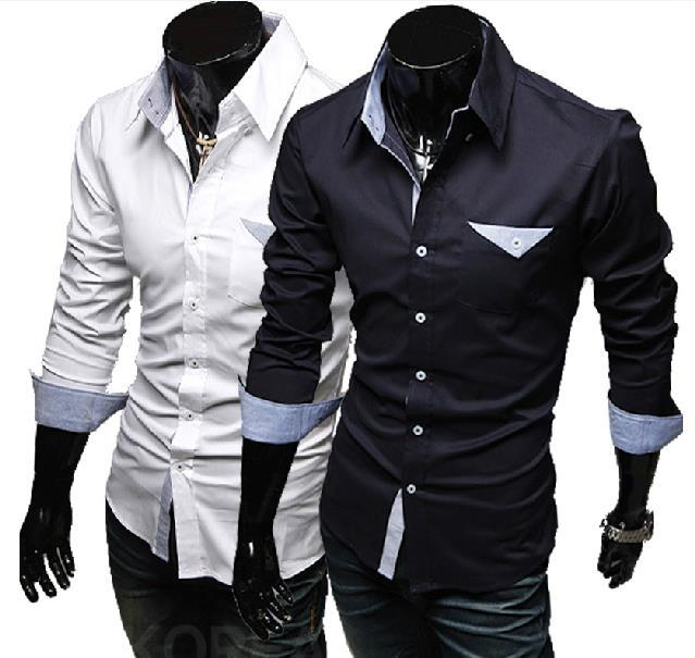 2018 2015 New Men'S Shirts, Long Seelves, Casual Pocket Design ...