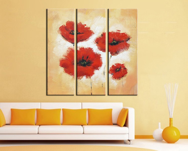 3 Panel painting,flower oil painting,abstract canvas,wall art ...