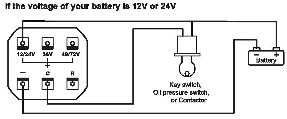 quartz led battery indicator digital hour meter for dc