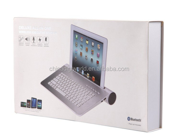 For Ipad mini bluetooth keyboards aluminum wireless bluetooth keyboard with speaker stand
