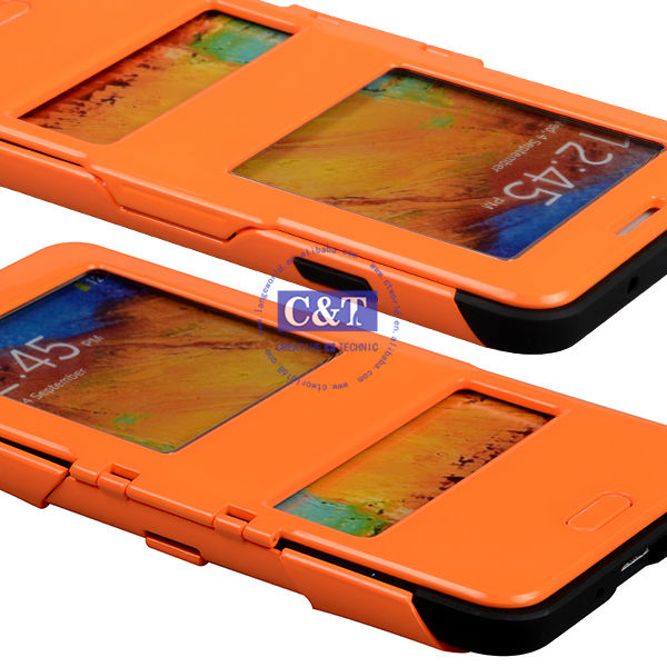 C&T Hybrid combo book flip case for galaxy note 3 leather cover