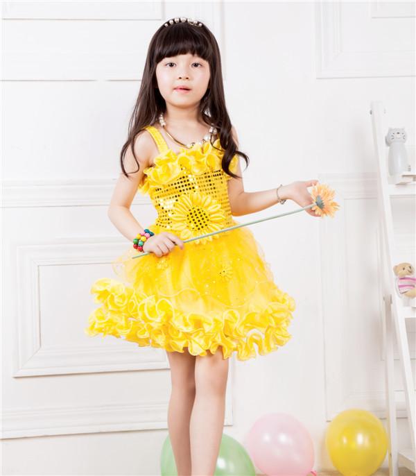 Cute Baby Girl in Yellow Dress Dancing Dress Baby Girl