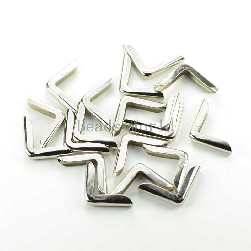 Wholesale !100 Silver Tone Metal Book Scrapbooking Albums Folders Corner Protectors 22x15mm Free Shipping (W03433 X 1)