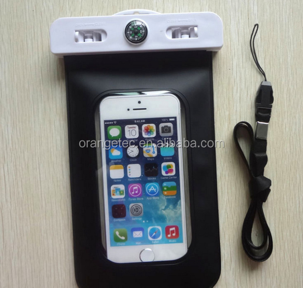For iPhone 5 Waterproof Bag IPX8 Certified Soft PVC Waterproof Protective Bag with Compass Under the Water for iPhone Smartphone