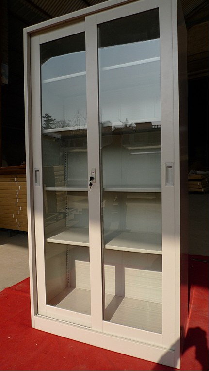 Glass Door Cheap White Bookcases With Movable Shelf View