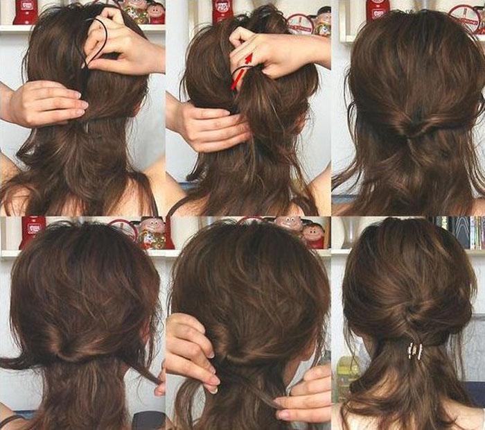 пучок с помощью твистера на длинные волосы