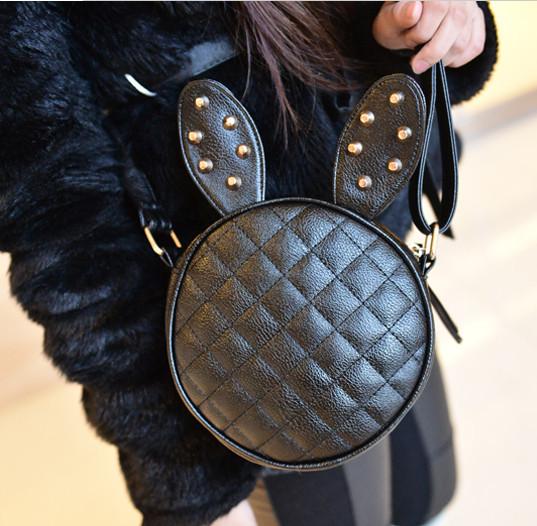 Новая летняя мода весны женщины кролика заклепки небольшая сумка кожаная мини сумка Элина магазин