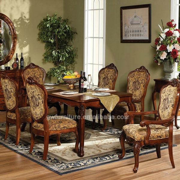 De estilo italiano muebles de comedor mano tallada de - Comedores antiguos de madera ...