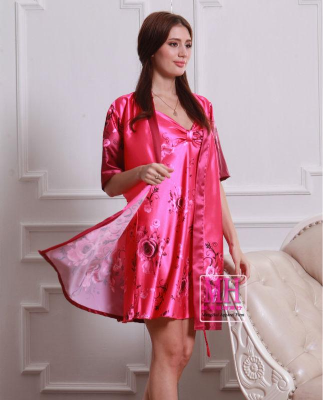 """2014 мода """" V """" воротник слива-красный повелительниц одеяния отпечатано, Лето новая модель half-рукава изящные два - халат для весна, Осень"""