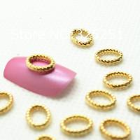Стразы для ногтей Fashion 3D Alloy golden ring nail art decoration about 7*9mm, 50pcs/lot