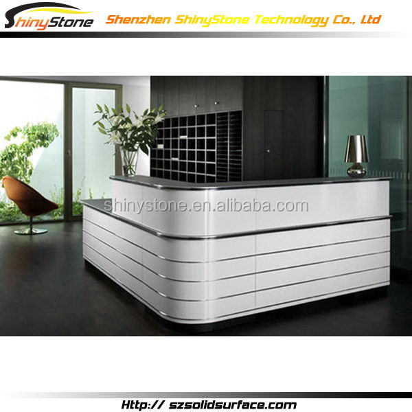 Quartz Stone Reception Desk : Popular l shaped black quartz stone countertop white