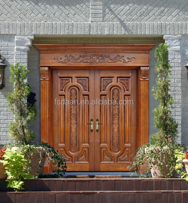 Teak wood main double door design kerala door buy teak for Main double door design