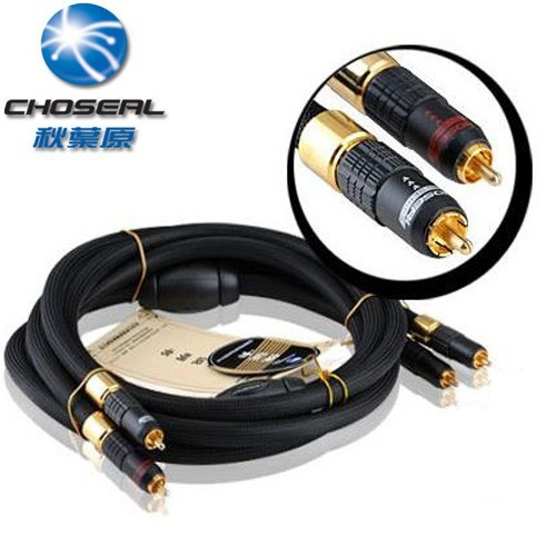 High end Choseal AA-5401 HIFI Auido line AV cable,2RCA male to 2RCA male 6N high purity single crystal copper,1.5M/5FT,Black