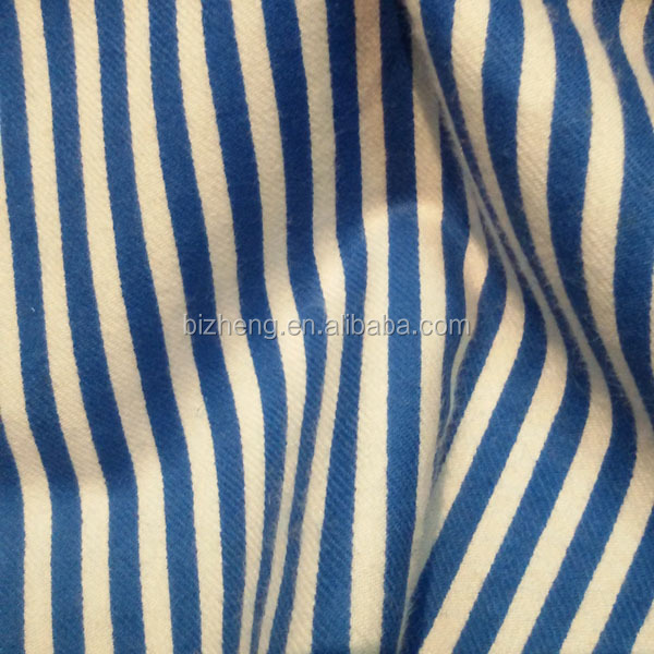 Screen printed fabric cotton blue and white striped textile for clothes