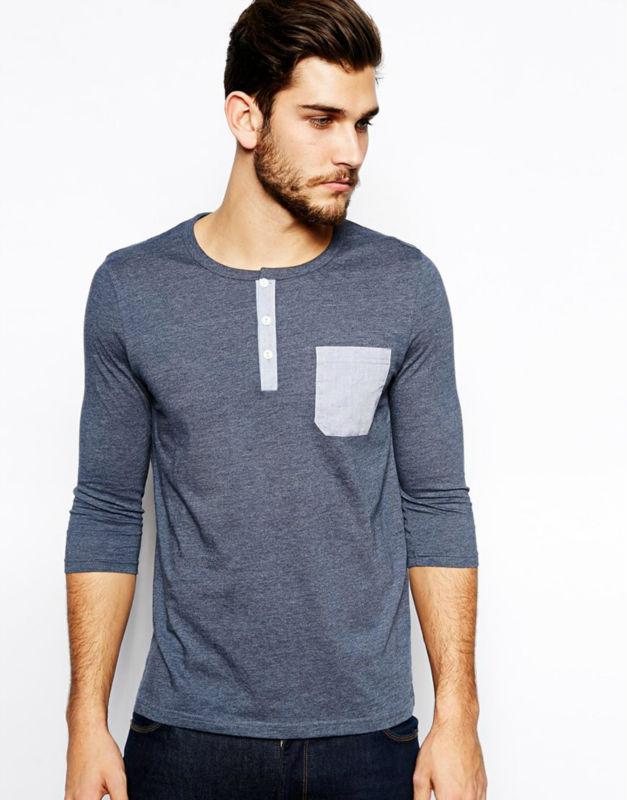 Mens blank pocket t shirt 3 4 sleeve t shirt wholesale for Bulk pocket t shirts