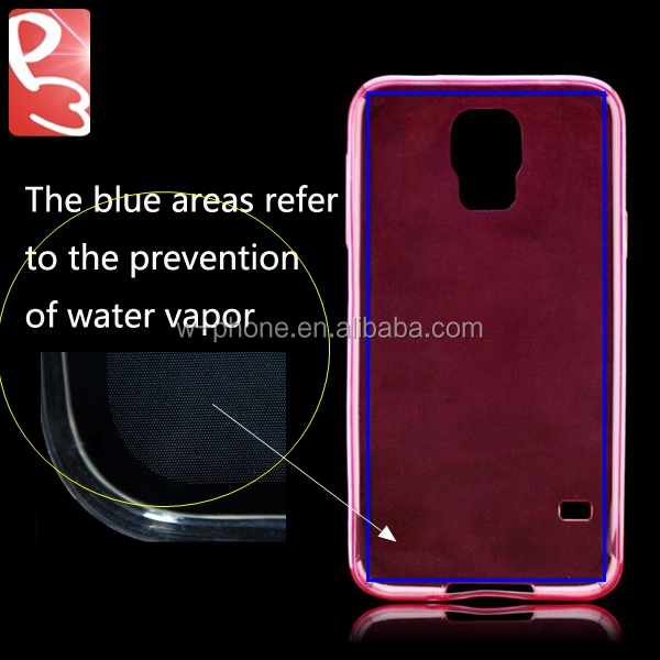 0.65mm Galaxy S5 Red Water Vapor Prevention Soft Glossy Slim Transparent TPU Back Case for Samsung i9600