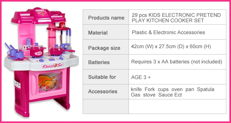 29 pcs electronic childrens kitchen cooking role play for Kitchen set 008 26