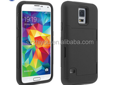 TPU phone case for samsung s5, card case pc tpu case for galaxy s5