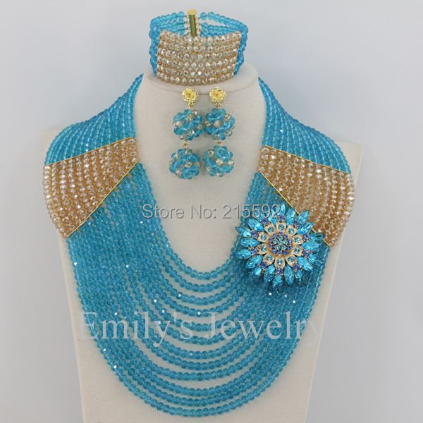 Fashionable African Costume Jewelry Set New Crystal Beads Jewelry Set 12 Rows Nigerian Wedding Bridal Necklace Set AJS314