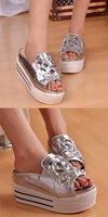квартиры новой моды Каждодневный Женская обувь сандалии пятки горный хрусталь декор летние сандалии Золотой серебро