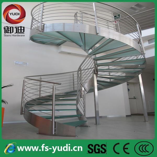 modern outdoor escalera espiral de cristal de acero inoxidable