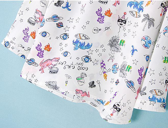 Летние Блузки из шифона лацкан воротник рубашки печати мультфильм изображений кофточка блузка мультфильм девочка